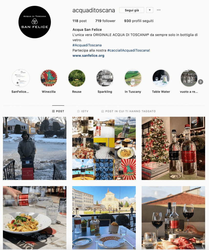 Feed Instagram Acqua San Felice